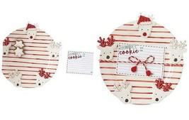 Mud Pie Reindeer Recipe Card Cookie Plate Set, One Size, White/Red - $36.30