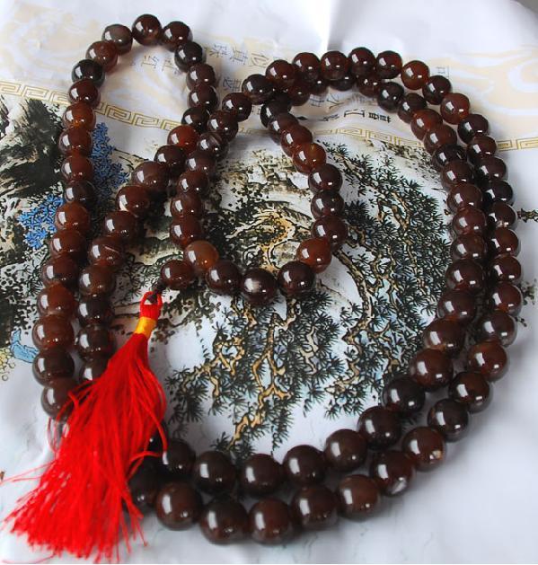 Tibetan 108 Red agate Prayer Beads Mala Necklace
