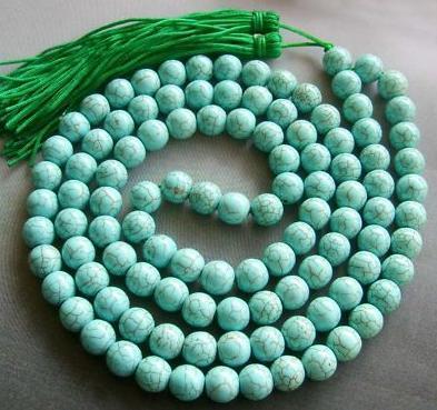 "35"" Tibetan 108 Turquoise Mediation Prayer Beads Mala"