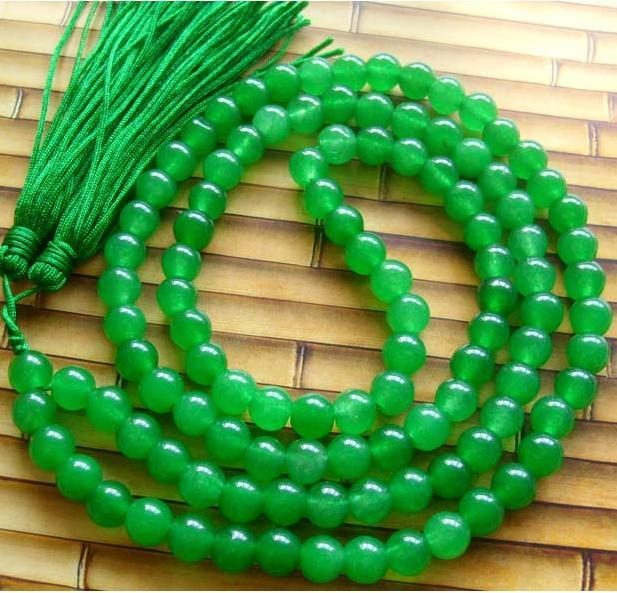 Tibetan Hand-carved  Buddhist 108 Jade Beads Prayer Mala Nec