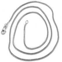 18K WHITE GOLD CHAIN 1.2 MM SQUARE FRANCO LINK, 24 INCHES, 60 CM MADE IN ITALY  image 1