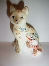 Fenton Glass Christmas Snowman & Bluebird Sitting Cat Ltd Ed M Kibbe #11/28 - $172.18