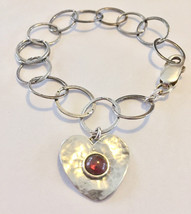 Hammered sterling silver large 13mm links 7mm garnet cabochon inset heart vintag - $129.00