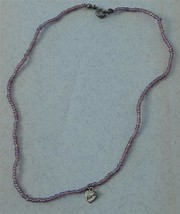 "Hand Made Beaded Necklace, Silver Tone ""Friends"" Heart Pendant, VGC - $6.92"