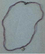 """Hand Made Beaded Necklace, Silver Tone """"Friends"""" Heart Pendant, VGC - $6.92"""