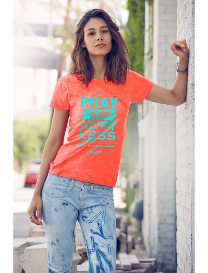 """Christian T-Shirt """"PRAY MORE WORRY LESS """" by Kerusso Womens NEW"""