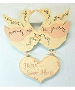 Vintage Wooden Home Sweet Home Duck and Heart Plaque Farmhouse Look Hand... - $13.63