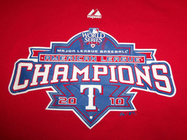 MLB Texas Rangers American League Champions 2010 Red Graphic T-Shirt - L - $18.45