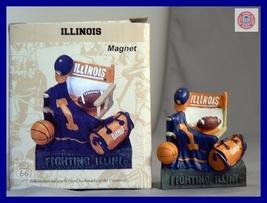FIGHTING ILLINIOIS FOOTBALL BASKETBALL 3D MAGNET  - $12.63