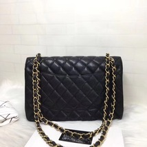 NEW AUTHENTIC CHANEL BLACK QUILTED CAVIAR JUMBO CLASSIC DOUBLE FLAP BAG GHW image 2