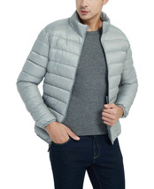 Men's Classic Lightweight Packable Stand Collar Grey Puffer Jacket Size Small image 2