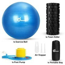 WADEO 3-In-1 Professional Exercise Ball Foam Roller Kit with Portable St... - £23.33 GBP