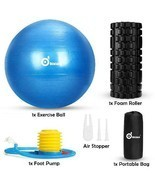 WADEO 3-In-1 Professional Exercise Ball Foam Roller Kit with Portable St... - £23.70 GBP