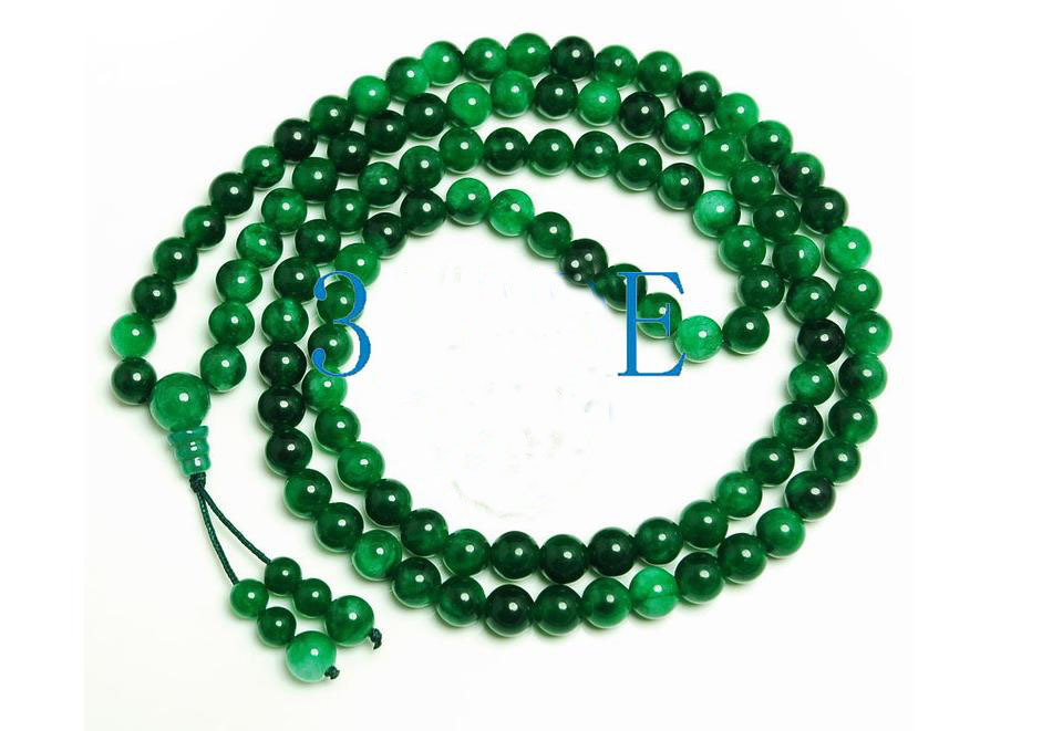 "32"" Green Jade/Jadeite 108 Meditation Prayer Beads Mala image 2"