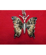 NECKLACE,Butterfly, Black and gray tones. A Symbol of CHANGE - $7.50