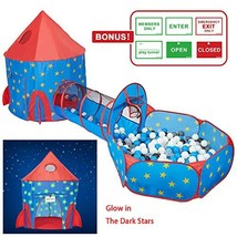 HAN-MM 3pc Kids Play Tent with Tunnel Glow in The Dark Stars, Tunnel & Ball - $66.25