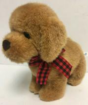 VINTAGE GUND HEADS N TALES Golden Retriever Plaid Bow Fuzzy Puppy Stuffe... - $14.16