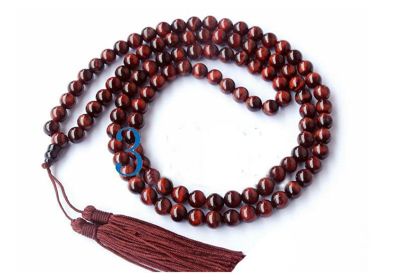 "34"" Tibetan Red Tiger's Eye Gemstone Prayer Beads Mala"