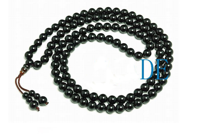 "33"" Tibetan Natural Black Onyx Prayer Beads Mala"