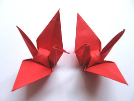 100 Large Red Color Origami Cranes - $25.00