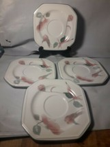 Mikasa Silk Flowers Set Of 4 Saucers F 3003  EXCELLENT  - $8.91