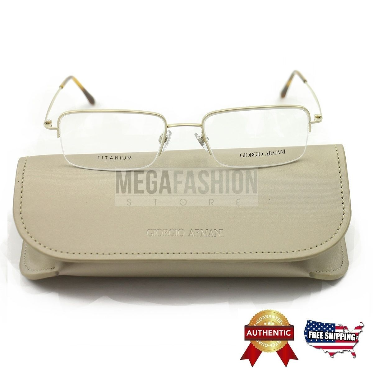 5baa0be8e94 New Giorgio Armani Eyeglasses AR5003T 3002 Gold Rimless Titanium Metal 53  19 140 -  99.99