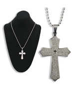 SILVER LORD'S PRAYER CROSS NECKLACE - $15.95