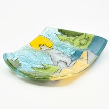 Fused Art Glass Wolf Coyote Howling at Moon Design Soap Dish Handmade in Ecuador image 3