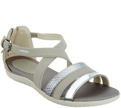 GEOX Cross-Strap Sandals - Vega Light Grey 8 M - £53.66 GBP