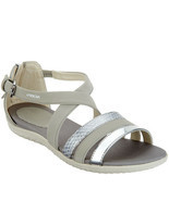 GEOX Cross-Strap Sandals - Vega Light Grey 8 M - $74.24