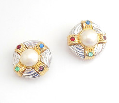 Joan Rivers Round Jeweled Earrings Silver Tone Faux Pearl Clip On Red Bl... - $10.95