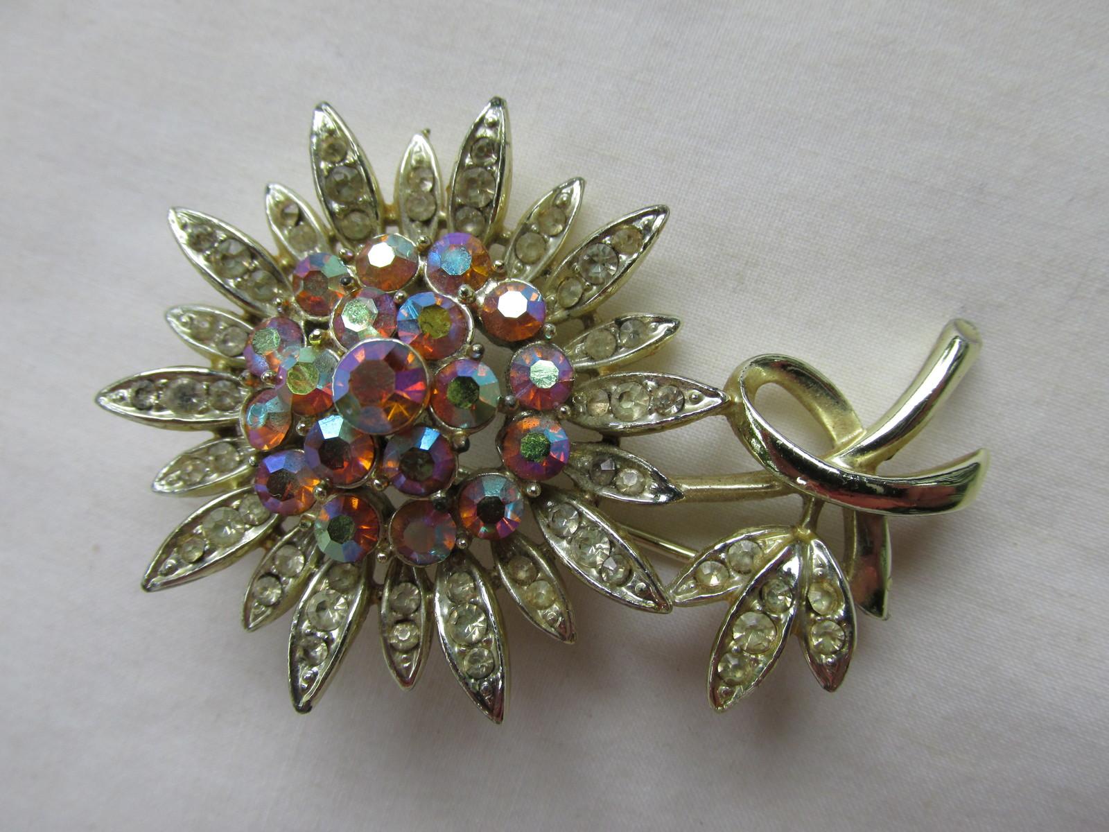 Vintage Francois (Coro) Aurora Borealis Flower Pin / Brooch, 1930s - 1960
