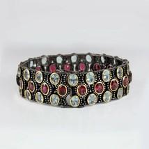 Genuine Aquamarine & Garnet Gemstone Tennis Bracelet Pave Diamond .925 S... - $1,474.00