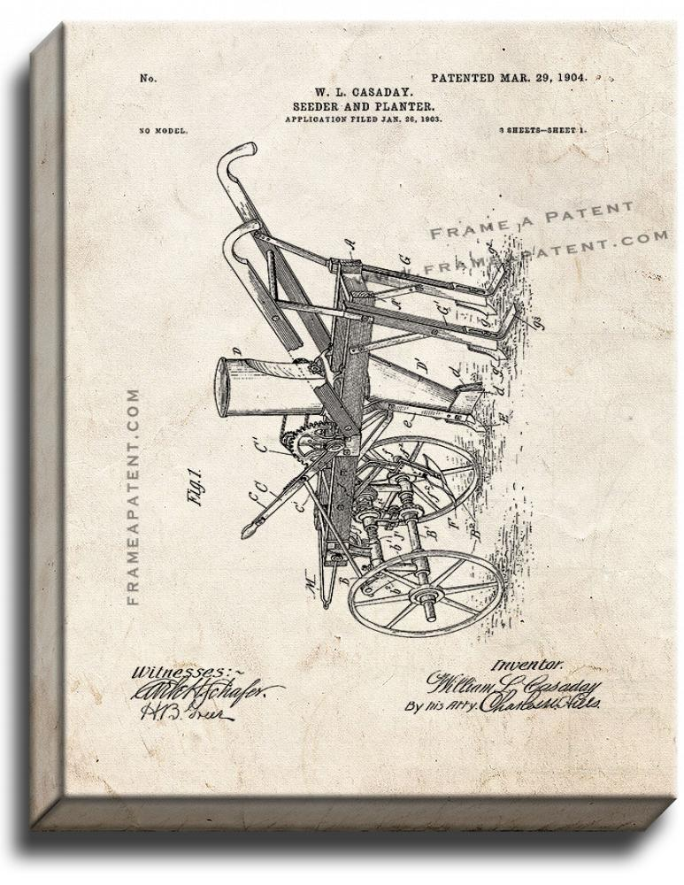 Primary image for Seeder And Planter Patent Print Old Look on Canvas