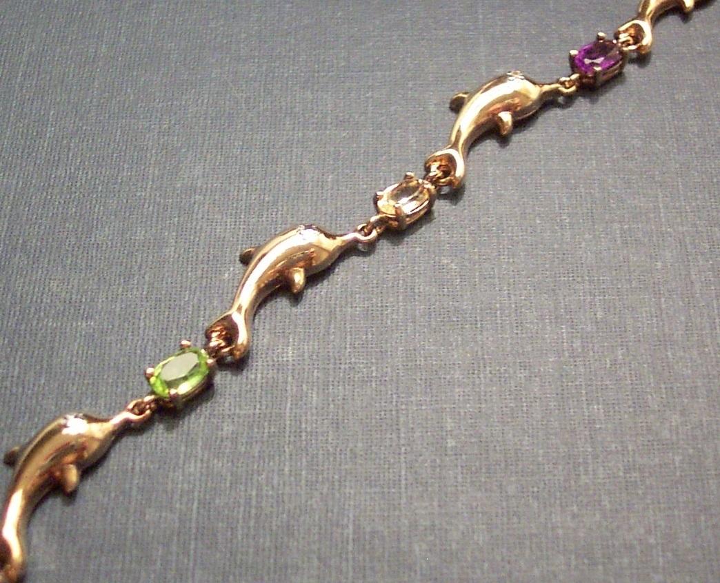 Multi-Gem Dolphin Bracelet