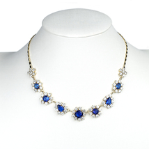 UNITED ELEGANCE Faux Sapphire & Swarovski Style Crystal Necklace and Earrings - $54.99