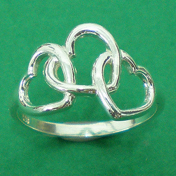 Three Heart Interlocking Ring - Sterling