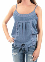American Rag Juniors Scoop Neck Spaghetti Strap Casual Top (Blue, XS) - $29.88