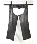 Vintage 90s UNIK Black Leather Chaps Fringe Braid Moto Biker Pants Women... - $38.60