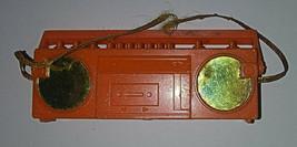 Vintage Barbie Boom Box 3in Orange Metallic Mattel Radio Handle Plastic ... - $7.99