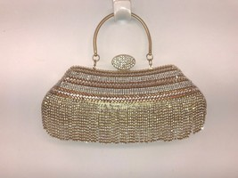 Elegant Gold Evening Bag, Bridal Clutch, Shoulder Bag With Rhinestones C... - $34.60
