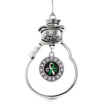 Inspired Silver Cervical Cancer Support Circle Snowman Holiday Decoration Christ - $14.69