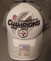 New Reebok NFL Steelers Conference Champions 2010 Hat Cap White /Gray Football - $12.99