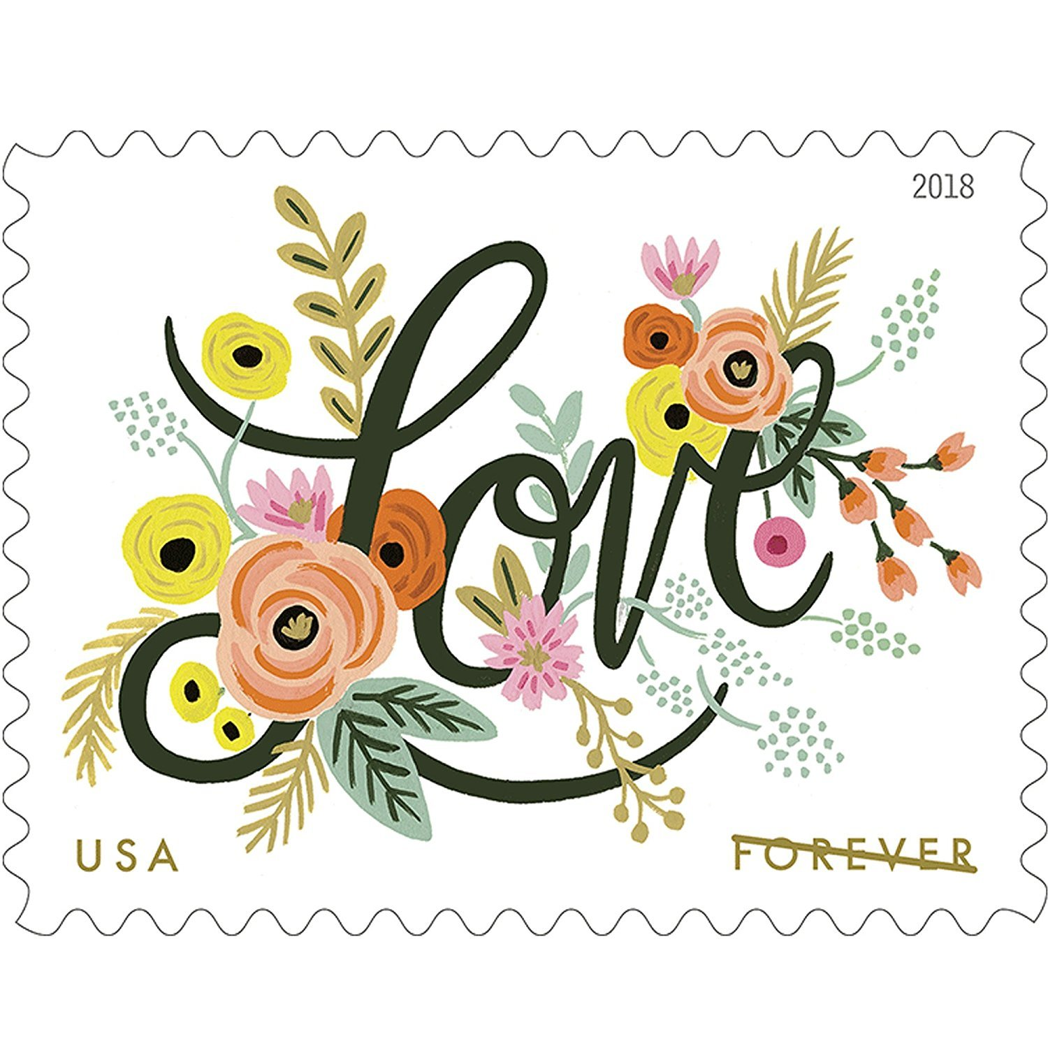 USPS 2018 Sheet of 20 Forever Stamps. Love Flourishes. MNH.