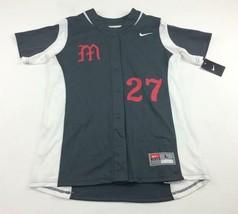 New Nike Short Sleeve Full Button Softball Jersey #27 Women's L Gray 630... - $23.87