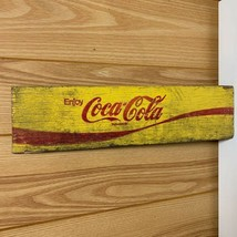 41×10cm vintage coca cola part of a wooden box color yellow rare from ja... - $82.33