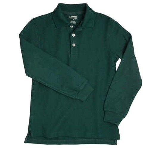 Hunter Green Long Sleeve Polo Shirt 14 Unisex French Toast School Uniforms New