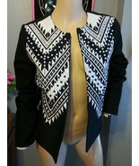 H&M Black White Faux Pearl Beaded Ethnic Embroidered Open Jacket 8 - $51.29