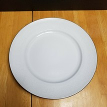 Johann Haviland Morning Mist Dinner Plate White with White Floral & Scrolls - $5.20