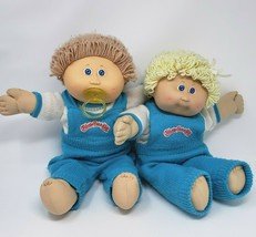 Vintage Cabbage Patch Kids Twins Boy & Girl Blue Eyes Stuffed Animal Plush Doll - $83.22